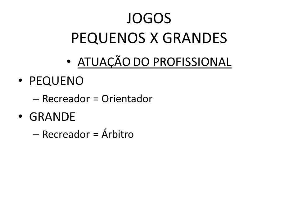 JOGOS PEQUENOS X GRANDES