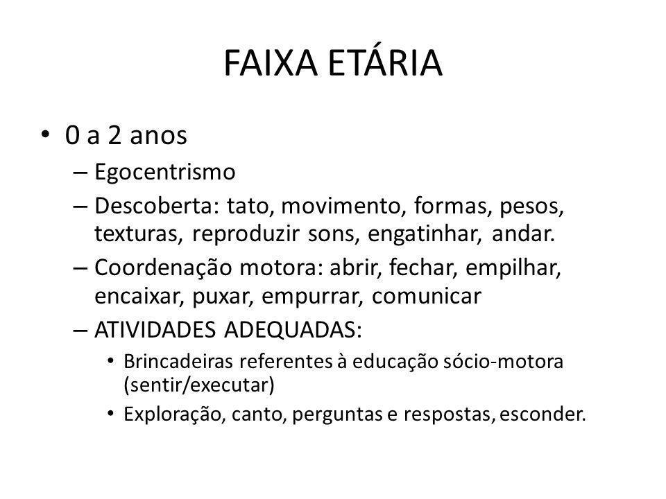 FAIXA ETÁRIA 0 a 2 anos Egocentrismo