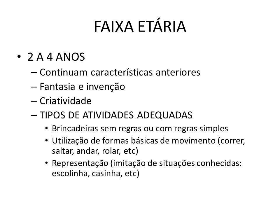 FAIXA ETÁRIA 2 A 4 ANOS Continuam características anteriores