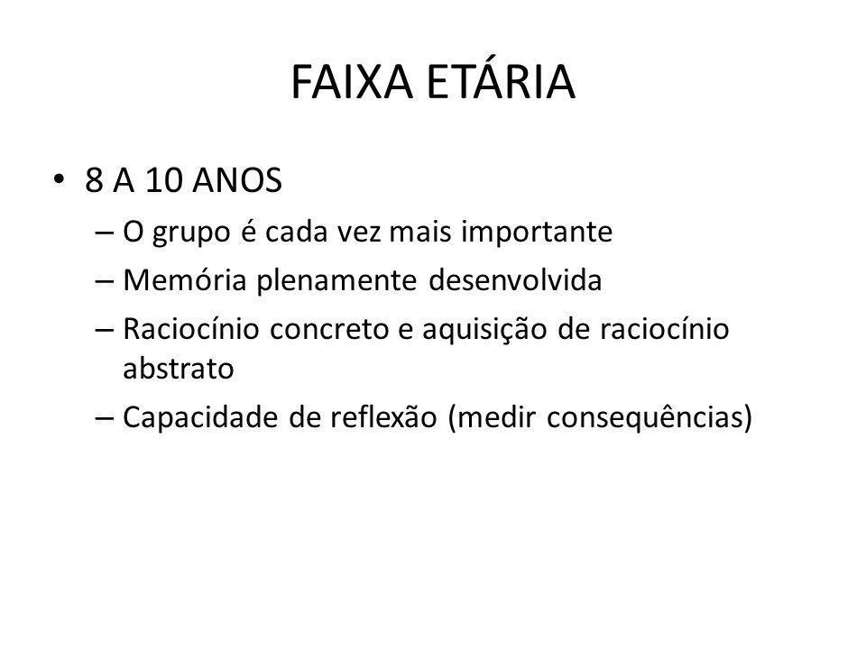 FAIXA ETÁRIA 8 A 10 ANOS O grupo é cada vez mais importante