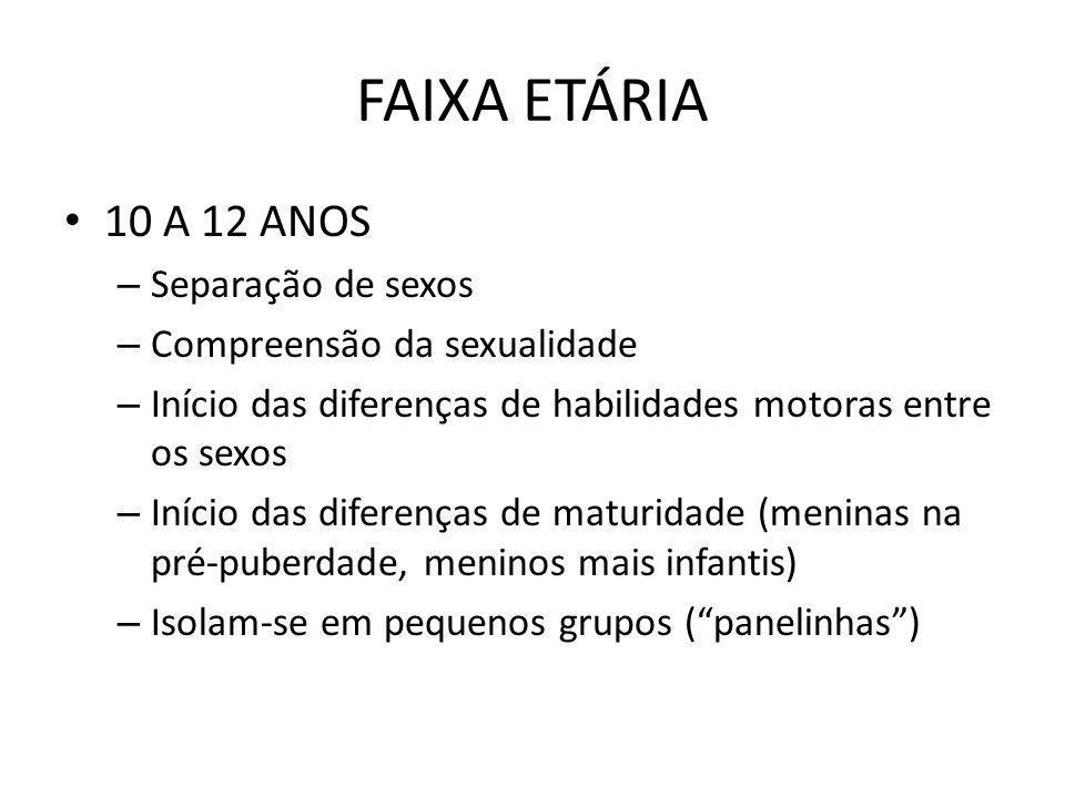 FAIXA ETÁRIA 10 A 12 ANOS Separação de sexos