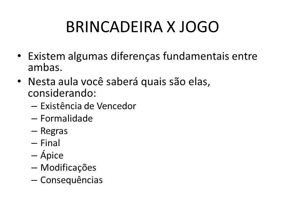 BRINCADEIRA X JOGO Existem algumas diferenças fundamentais entre ambas. Nesta aula você saberá quais são elas, considerando: