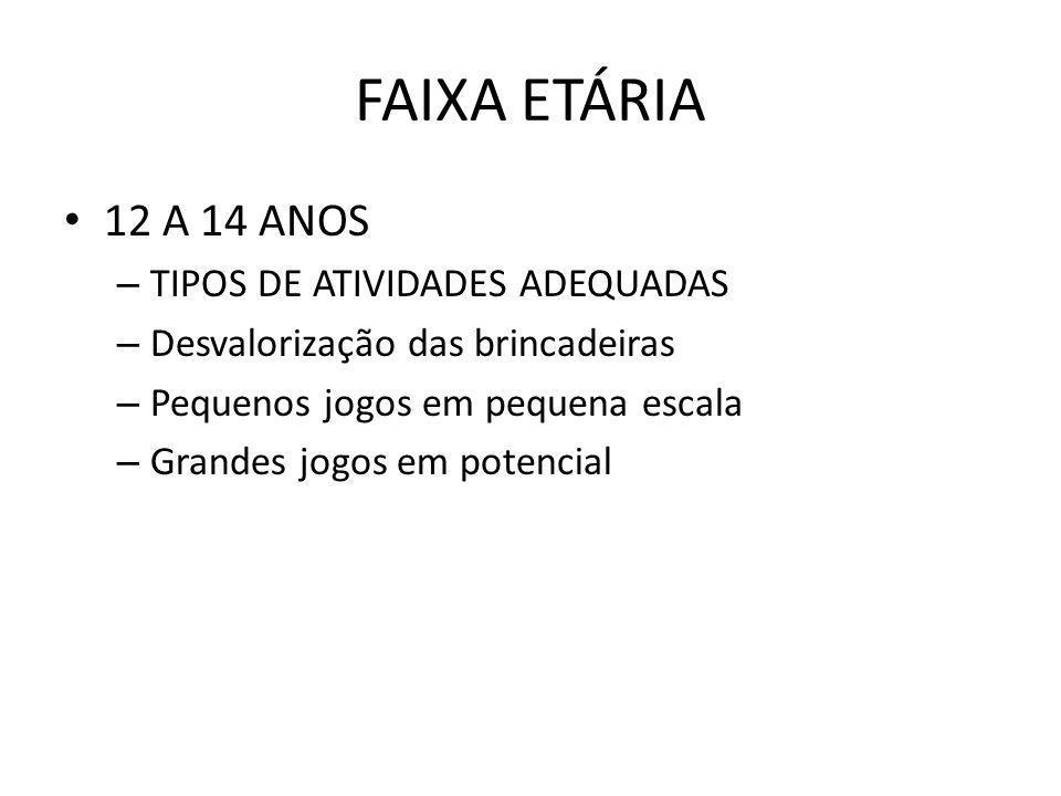 FAIXA ETÁRIA 12 A 14 ANOS TIPOS DE ATIVIDADES ADEQUADAS