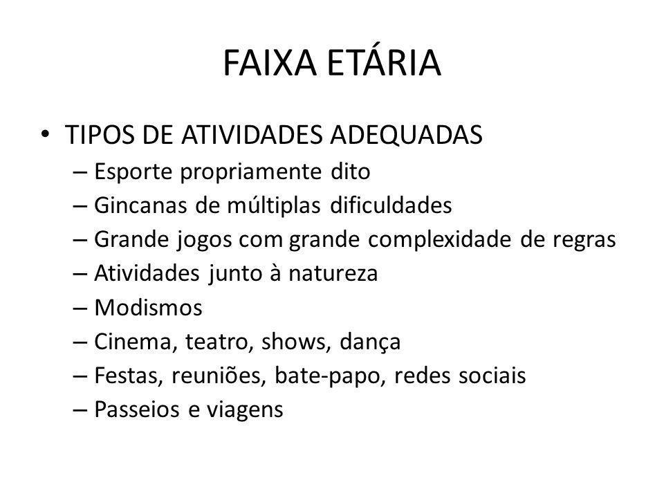 FAIXA ETÁRIA TIPOS DE ATIVIDADES ADEQUADAS Esporte propriamente dito