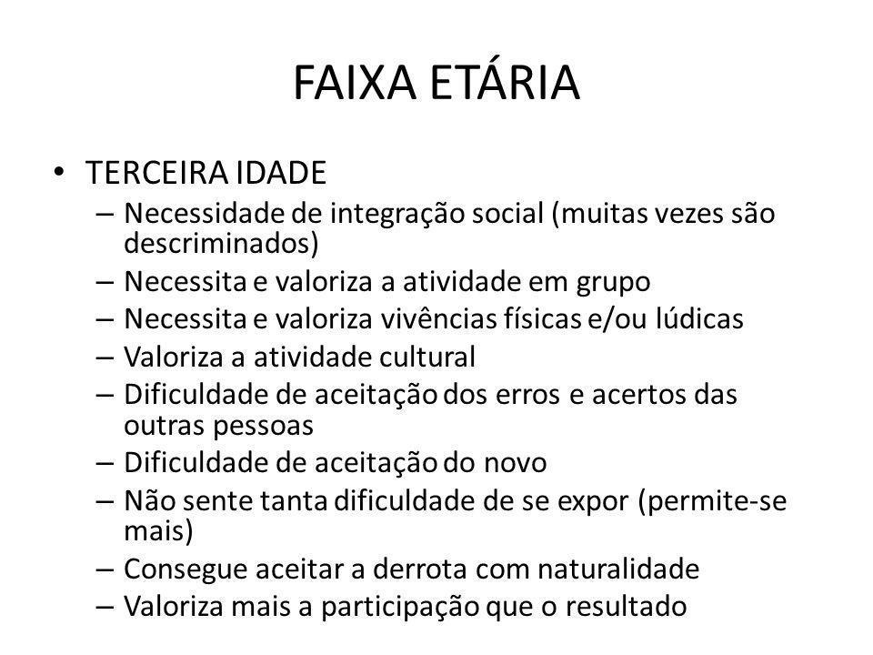 FAIXA ETÁRIA TERCEIRA IDADE