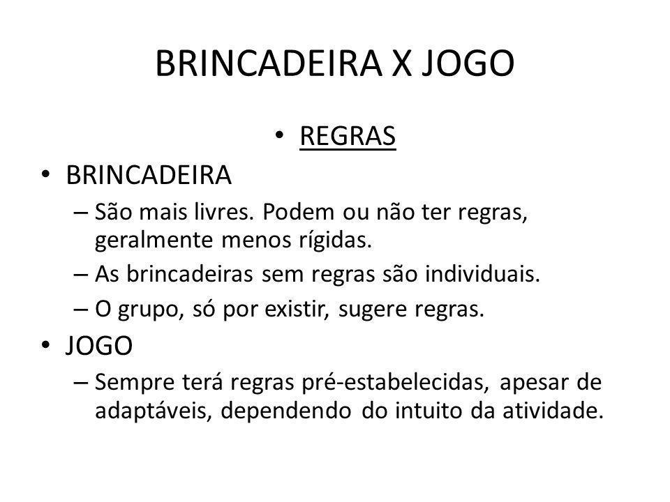 BRINCADEIRA X JOGO REGRAS BRINCADEIRA JOGO