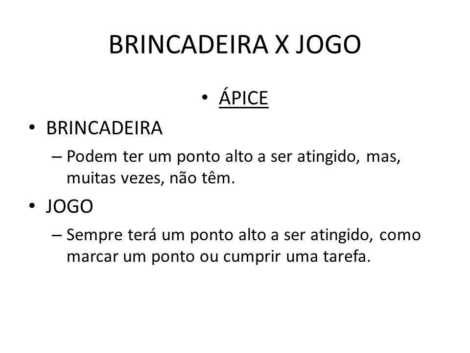 BRINCADEIRA X JOGO ÁPICE BRINCADEIRA JOGO