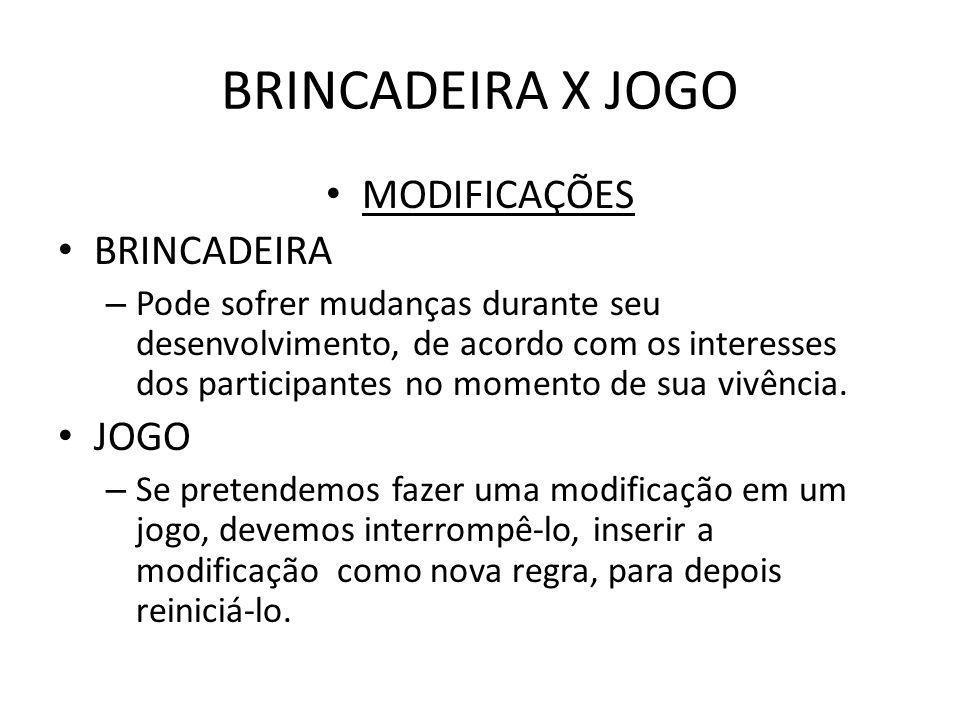 BRINCADEIRA X JOGO MODIFICAÇÕES BRINCADEIRA JOGO