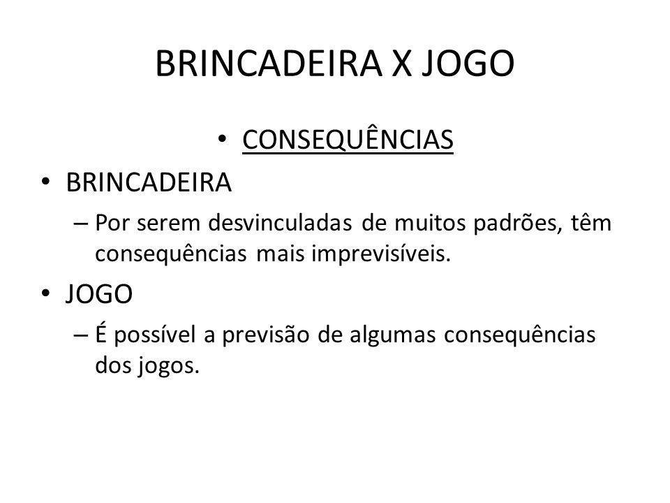 BRINCADEIRA X JOGO CONSEQUÊNCIAS BRINCADEIRA JOGO