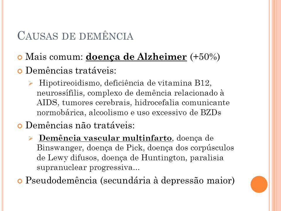 Causas de demência Mais comum: doença de Alzheimer (+50%)