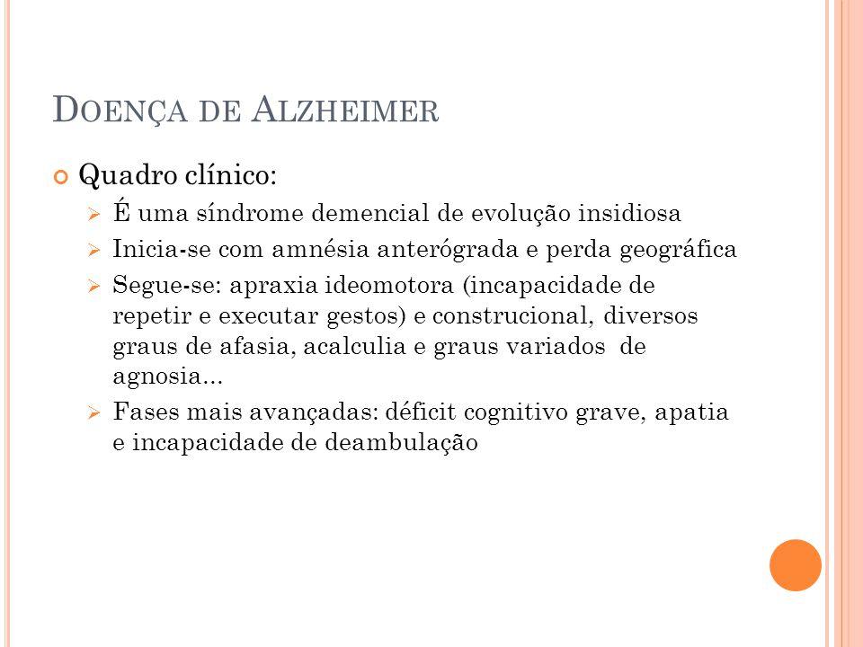 Doença de Alzheimer Quadro clínico: