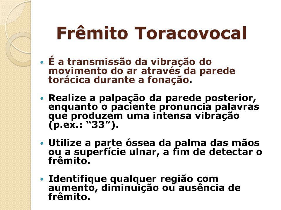 Frêmito Toracovocal É a transmissão da vibração do movimento do ar através da parede torácica durante a fonação.