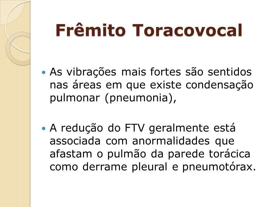 Frêmito Toracovocal As vibrações mais fortes são sentidos nas áreas em que existe condensação pulmonar (pneumonia),