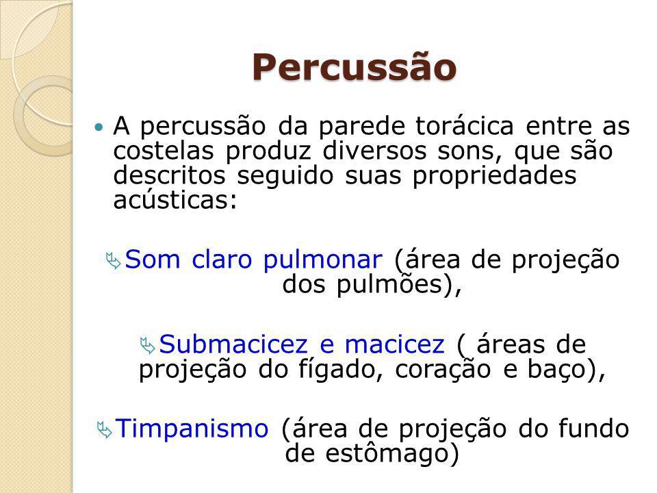 Percussão A percussão da parede torácica entre as costelas produz diversos sons, que são descritos seguido suas propriedades acústicas: