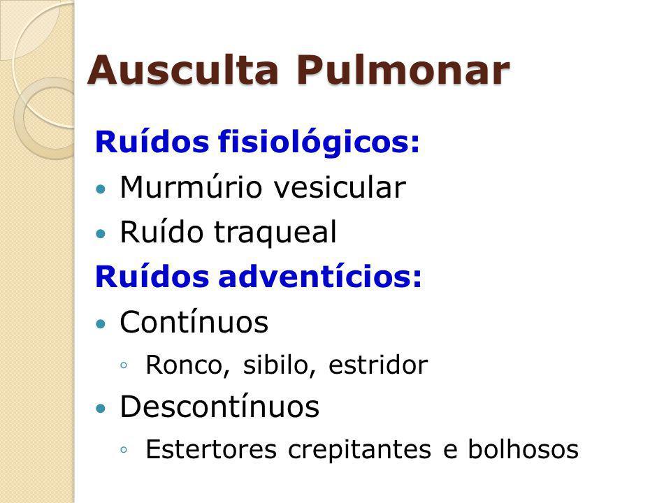 Ausculta Pulmonar Ruídos fisiológicos: Murmúrio vesicular