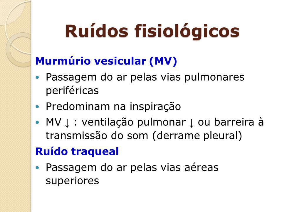 Ruídos fisiológicos Murmúrio vesicular (MV)