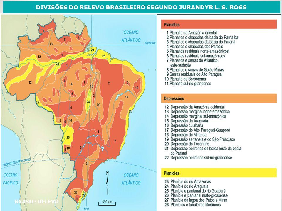 DIVISÕES DO RELEVO BRASILEIRO SEGUNDO JURANDYR L. S. ROSS