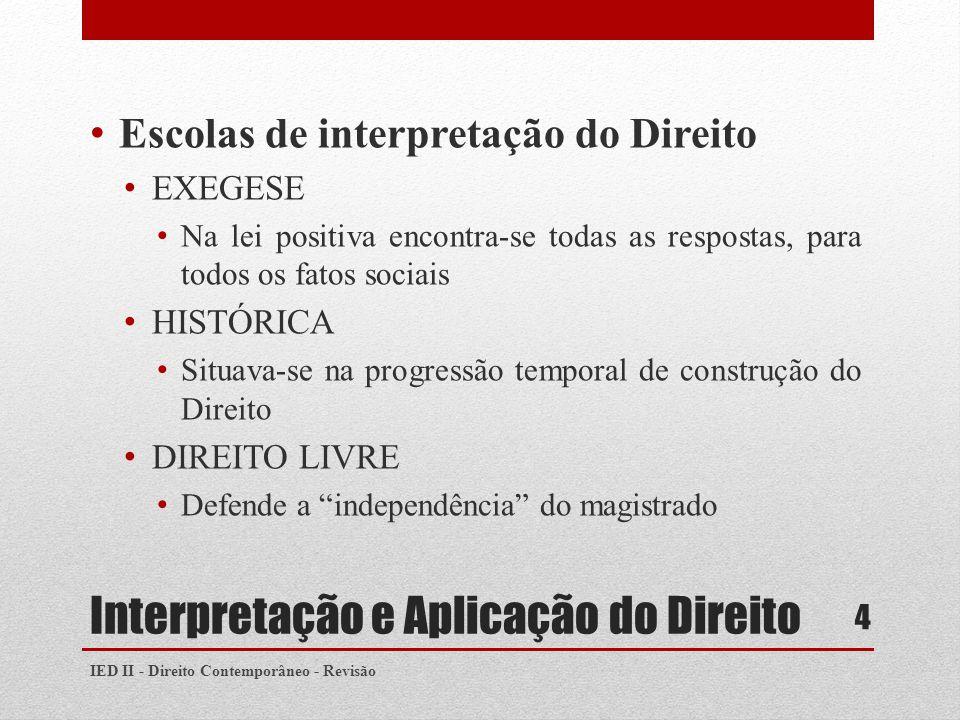 Interpretação e Aplicação do Direito