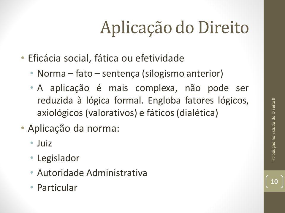 Aplicação do Direito Eficácia social, fática ou efetividade