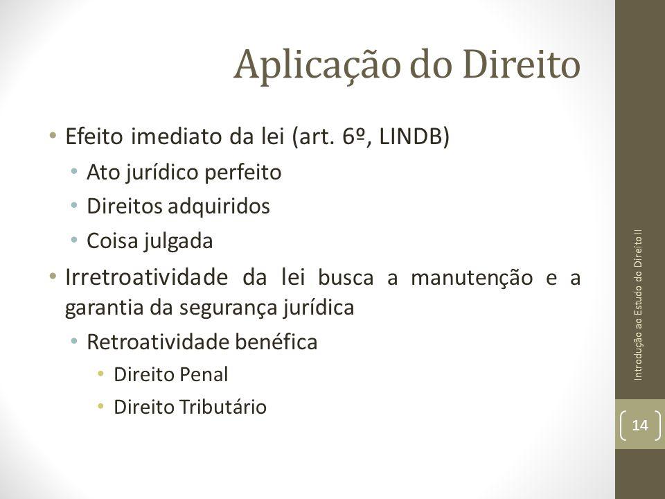 Aplicação do Direito Efeito imediato da lei (art. 6º, LINDB)