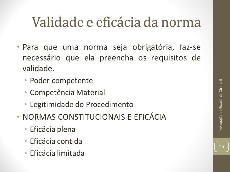 Validade e eficácia da norma