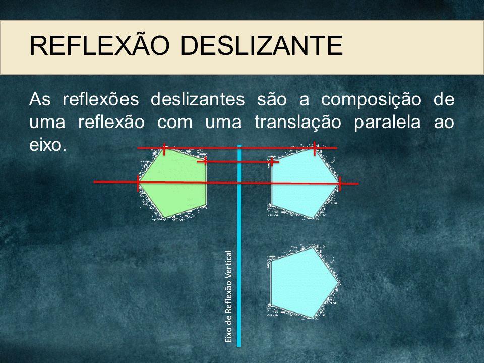 REFLEXÃO DESLIZANTE As reflexões deslizantes são a composição de uma reflexão com uma translação paralela ao eixo.