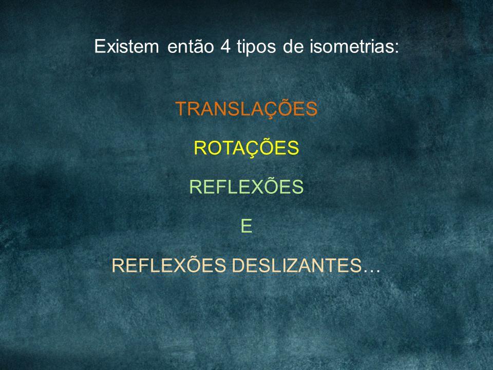 Existem então 4 tipos de isometrias: TRANSLAÇÕES ROTAÇÕES REFLEXÕES E REFLEXÕES DESLIZANTES…
