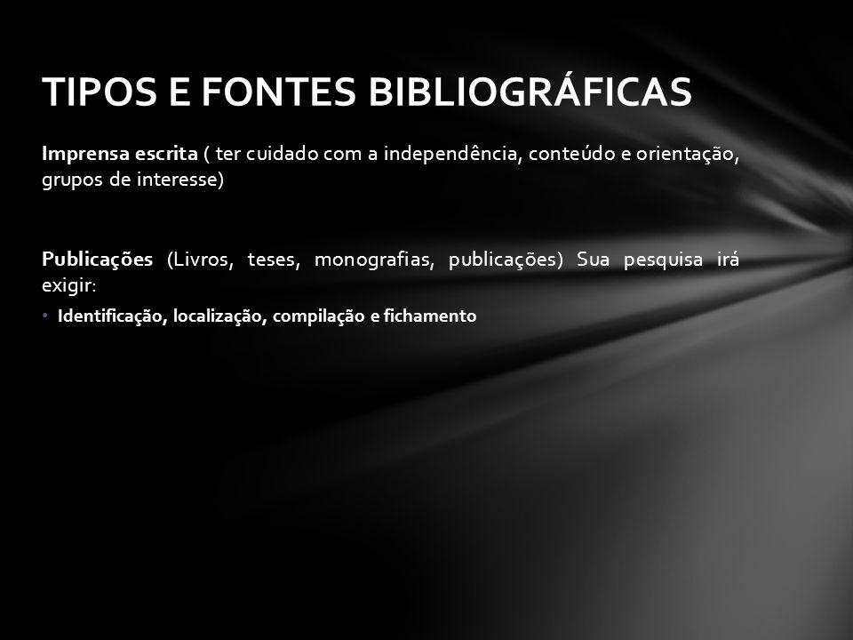 TIPOS E FONTES BIBLIOGRÁFICAS
