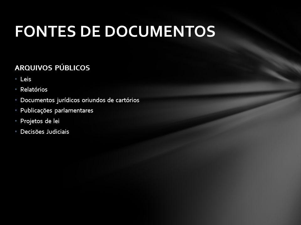 FONTES DE DOCUMENTOS ARQUIVOS PÚBLICOS Leis Relatórios