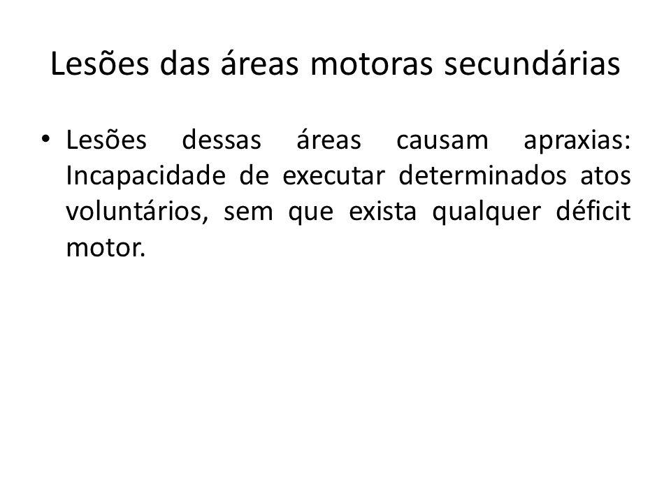 Lesões das áreas motoras secundárias