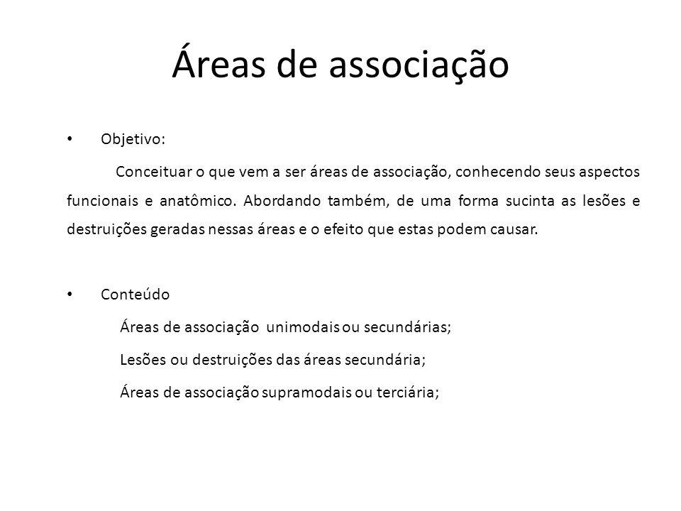 Áreas de associação Objetivo: