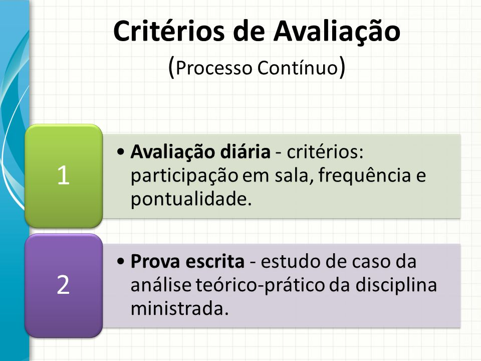 Critérios de Avaliação (Processo Contínuo)