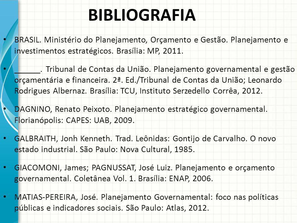 BIBLIOGRAFIA BRASIL. Ministério do Planejamento, Orçamento e Gestão. Planejamento e investimentos estratégicos. Brasília: MP, 2011.