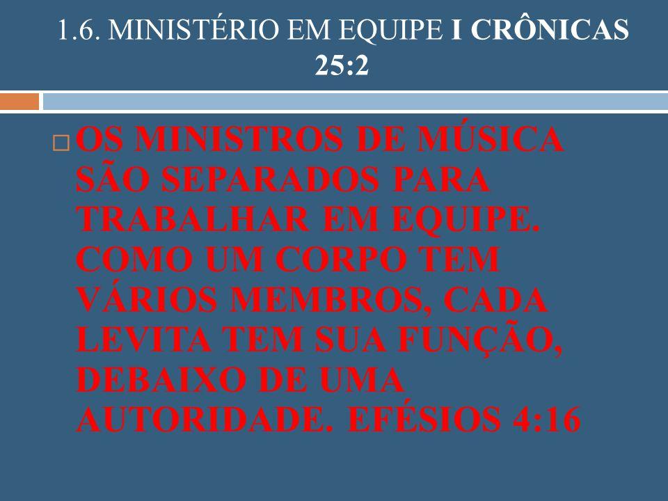 1.6. MINISTÉRIO EM EQUIPE I CRÔNICAS 25:2