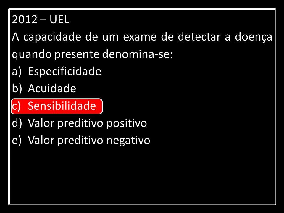 2012 – UEL A capacidade de um exame de detectar a doença quando presente denomina-se: Especificidade.