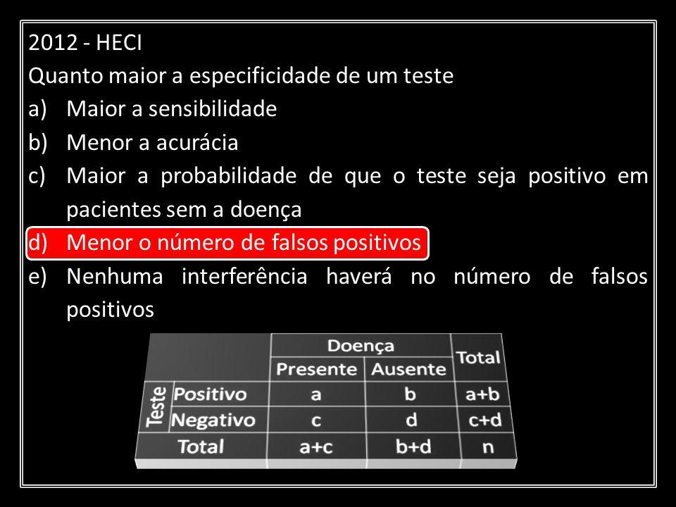 2012 - HECI Quanto maior a especificidade de um teste. Maior a sensibilidade. Menor a acurácia.