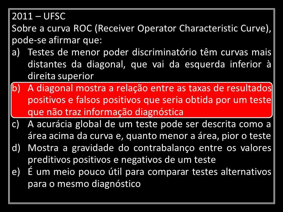 2011 – UFSC Sobre a curva ROC (Receiver Operator Characteristic Curve), pode-se afirmar que: