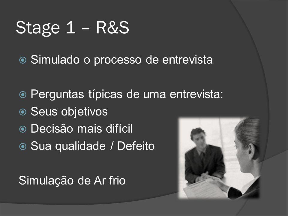 Stage 1 – R&S Simulado o processo de entrevista