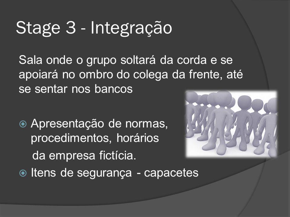 Stage 3 - Integração Sala onde o grupo soltará da corda e se apoiará no ombro do colega da frente, até se sentar nos bancos.