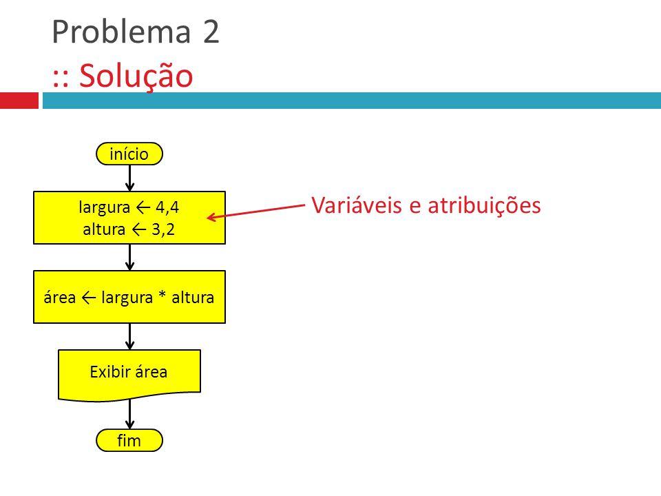 Problema 2 :: Solução Variáveis e atribuições início largura ← 4,4