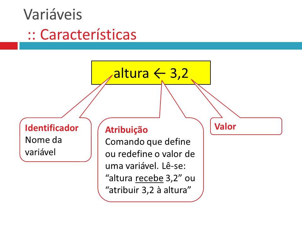 Variáveis :: Características