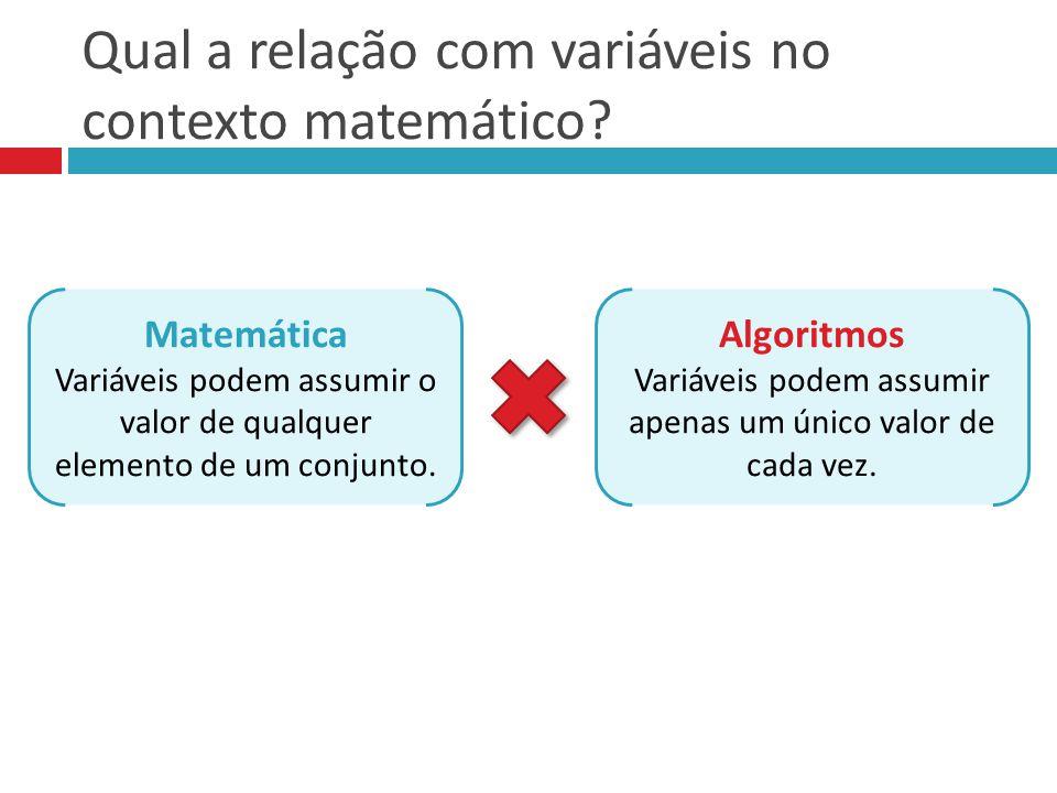 Qual a relação com variáveis no contexto matemático