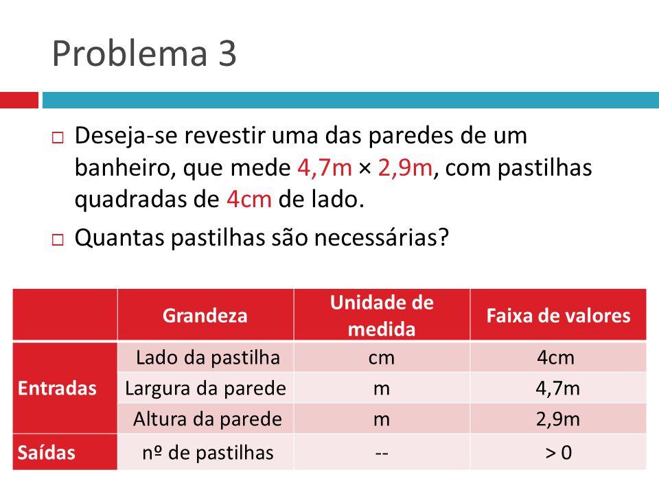 Problema 3 Deseja-se revestir uma das paredes de um banheiro, que mede 4,7m × 2,9m, com pastilhas quadradas de 4cm de lado.