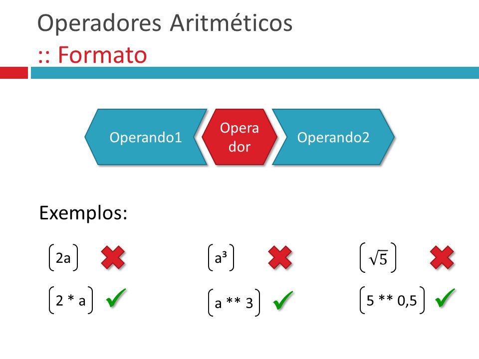 Operadores Aritméticos :: Formato