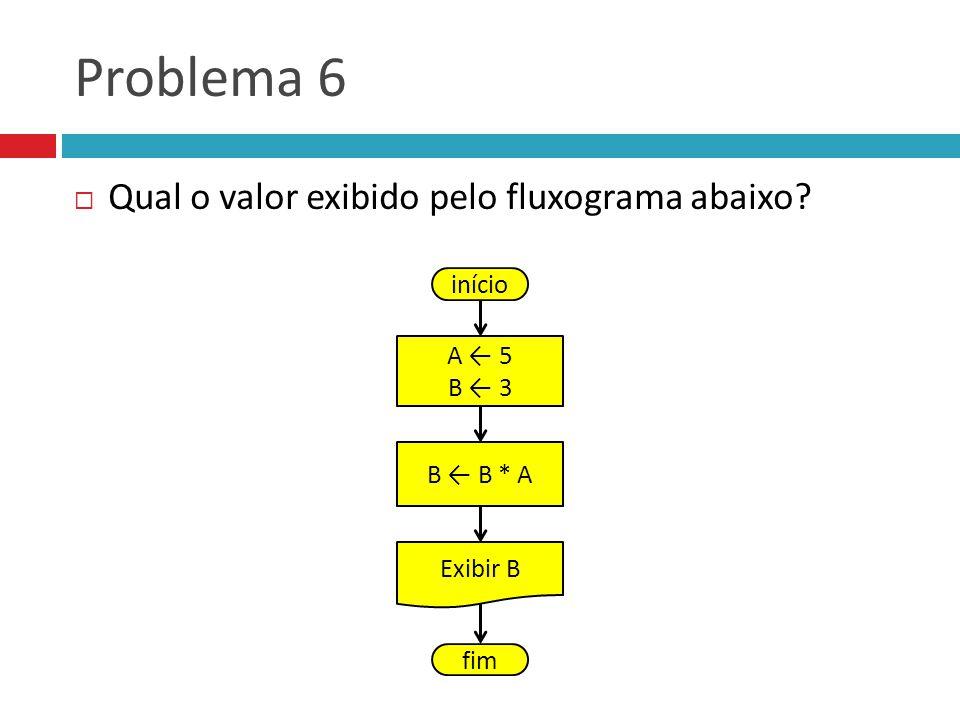 Problema 6 Qual o valor exibido pelo fluxograma abaixo início A ← 5