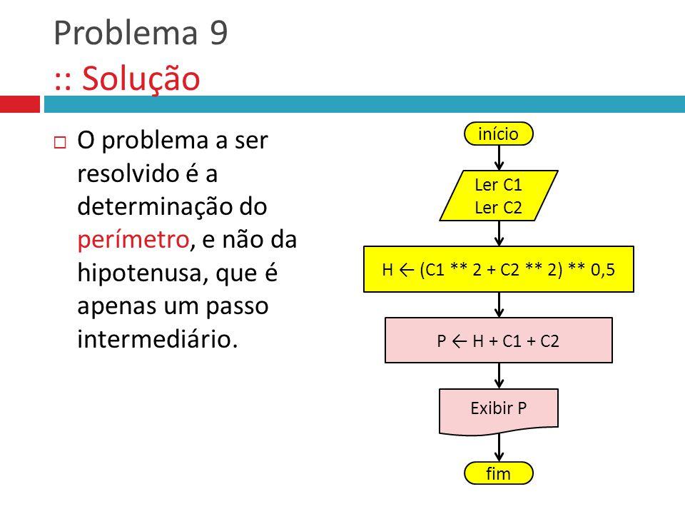 Problema 9 :: Solução O problema a ser resolvido é a determinação do perímetro, e não da hipotenusa, que é apenas um passo intermediário.