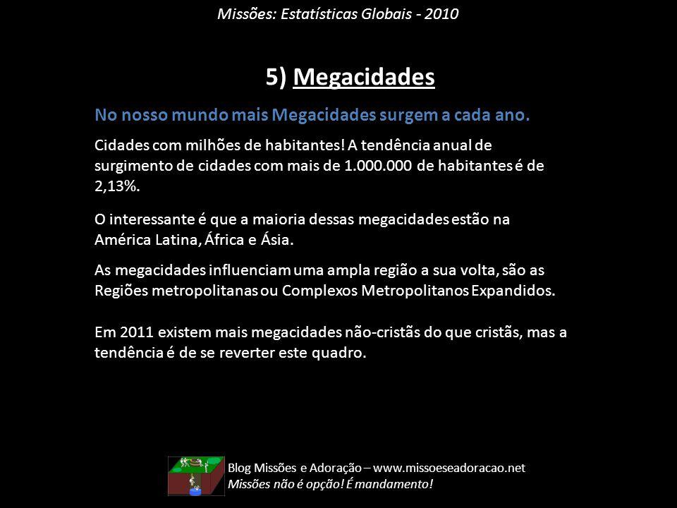 5) Megacidades No nosso mundo mais Megacidades surgem a cada ano.