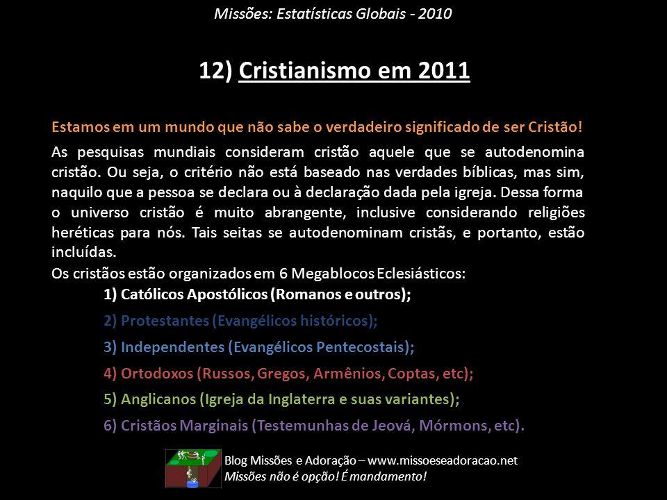 12) Cristianismo em 2011 Missões: Estatísticas Globais - 2010
