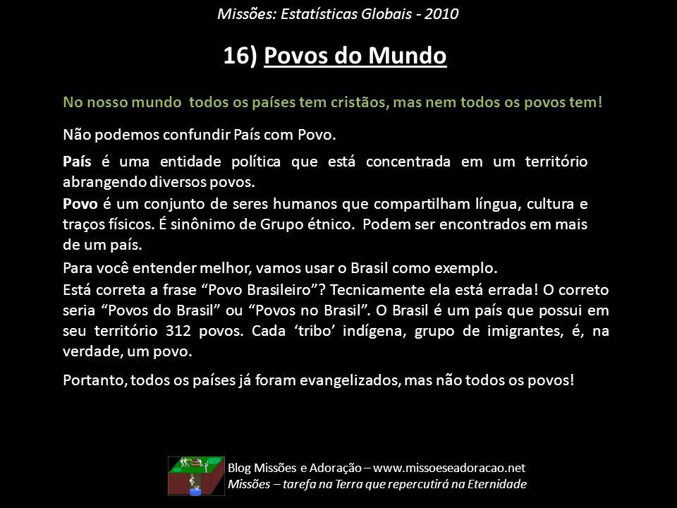 16) Povos do Mundo Missões: Estatísticas Globais - 2010
