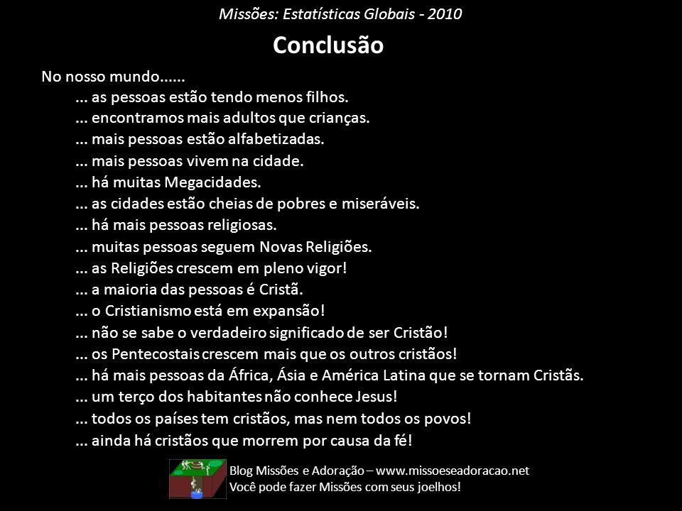 Conclusão Missões: Estatísticas Globais - 2010 No nosso mundo......